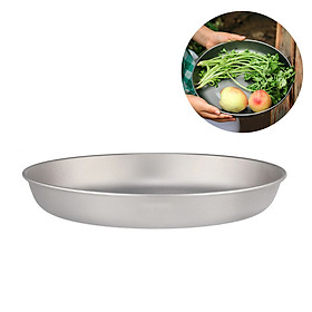 Lixada 700ml Titanium Plate Ultralight Dinner Fruit Plate Frying Pan for Outdoor Camping Hiking Backpacking Picnic BBQ