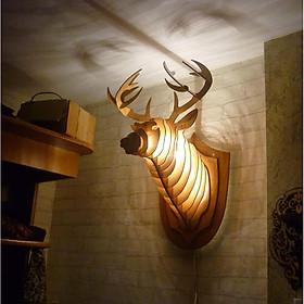 Đèn gỗ đầu hươu treo tường - Mô hình gỗ 3D
