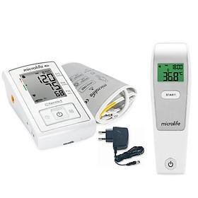 Combo Máy Đo Huyết Áp Bắp Tay Microlife A3 Basic + Adapter + Nhiệt kế hồng ngoại đo trán Microlife FR1MF1