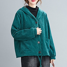 Women Winter Hooded Coat Corduroy Fleece Lining Buttons Pockets Adjustable Drawstring Loose Casual Warm Outerwear