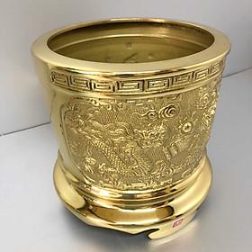 Bát hương đồng vàng, chạm khắc khắc Rồng và Phượng (sản phẩm có nhiều kích thước)