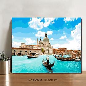 Tranh tô màu theo số BC0051 Tranh sơn dầu số hóa phong cảnh Venice - Hòn ngọc của biển Adriatic