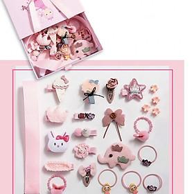 Hộp kẹp tóc, cột tóc cho bé gái từ 2 đến 10 tuổi, phong cách Hàn Quốc, kèm túi có quai sách, màu hồng, nhiều chi tiết.