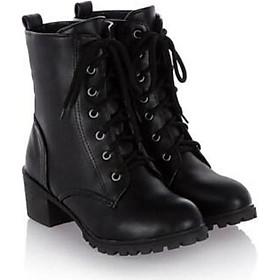 Boot nữ cổ cao đế trệt màu đen sang trọng GBN5101