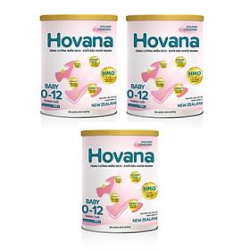 Bộ 3 Lon Sữa bột Hovana Baby hỗ trợ tiêu hóa cho bé từ 0 đến 12 tháng 900gr
