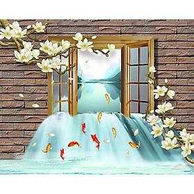 Tranh cửa sổ 3d| Tranh dán tường cửa sổ phong cảnh 3d 16