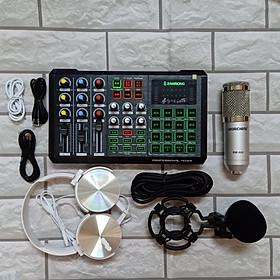 Bộ Hát Karaoke Live stream Sound card Zansong S8 Bluetooth Auto Tune và Micro BM 900 kèm tai phone Hàng chính hãng