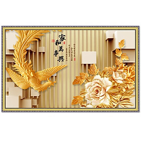 Tranh dán tường chim Phượng Hoàng bên hoa mẫu đơn Lunawall-0094K2