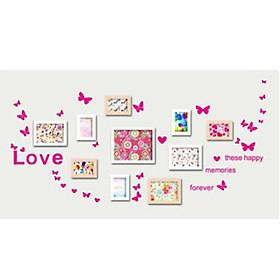 Decal dán tường chữ Love hình bướm