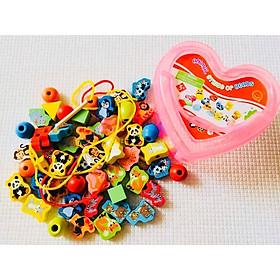 Đồ chơi giáo dục sớm giúp bé thông minh, đồ chơi montessoti xâu hạt gỗ an toàn chủ đề Động vật