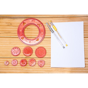 Bộ dụng cụ thước kẻ vẽ hoạt tiết hình học Spirograph