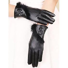 Bao tay da nữ cảm ứng điện thoại thiết kế dải lông và lớp lót lông giữ ấm