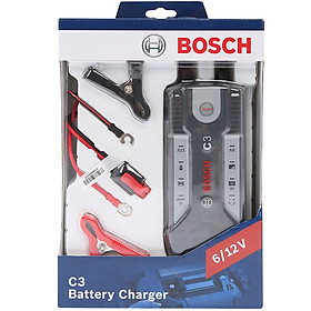 Máy sạc bình ắc quy cho ô tô xe máy Bosch C3 - Hàng chính hãng