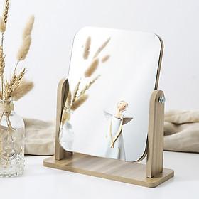 Gương trang điểm để bàn cao cấp gương soi di động bằng gỗ xoay gập tiện lợi phong cách châu Âu - Tặng 1 băng đô trang điểm vải nhung màu ngẫu nhiên