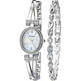 Armitron Women's 75/5381MPSVST Swarovski Crystal Accented Silver-Tone Bangle Watch and Bracelet Set