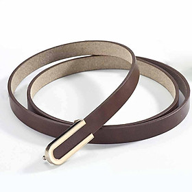 Men And Women Waistband Imitation Leather All-match Solid Color U-shaped Thin Belt