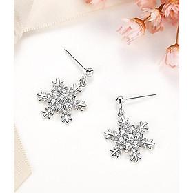 Bông tai hoa tai nữ hoa tuyết đính đá Hàn Quốc
