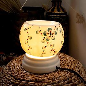 Đèn xông tinh dầu vẽ hoa dây xanh, dùng điện, gốm Bát Tràng DXTD001-1
