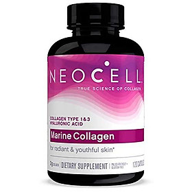NeoCell Marine Collagen, Collagen Types 1 & 3 for Skin Hydration Certified Paleo Friendly and Gluten-Free  120 Capsules (Package May Vary)