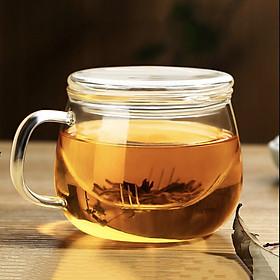 Ly cốc thủy tinh 2 lớp cao cấp kèm lọc trà nắp tròn phẳng 400ml