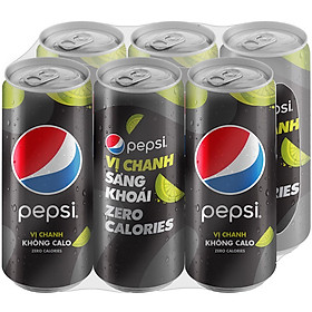 Lốc 6 Lon Nước Ngọt Có Gas Pepsi Vị Chanh Không Calo (330ml/Lon)