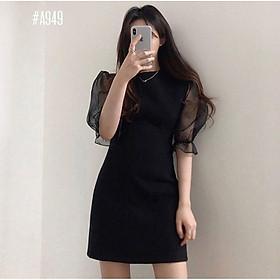 Đầm đen tay voan thanh lịch (có ảnh thật)