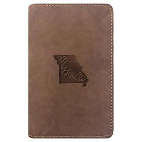Bao Da Hộ Chiếu Passport Cover Da Sáp Khắc Hình Hình Bản Đồ Missouri Map Map (Brown)
