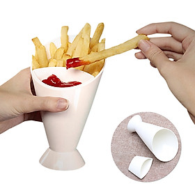 Portable French Fries Holder 2 In 1 French Fry Cup Set Ketchup Snack Cup 2 Slots Cone-shaped Dipping Cups
