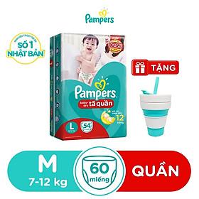 Tã Quần Pampers Baby Dry bịch Jumbo size M60-L54 [Tặng kèm Ly gập thông minh]