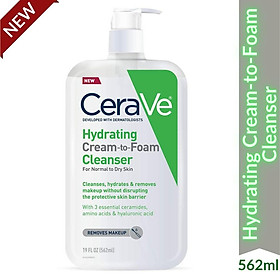 Sữa Rửa Mặt Tẩy Trang Cerave Hydrating Cream to Foam Cleanser cho da khô, loại bỏ makeup