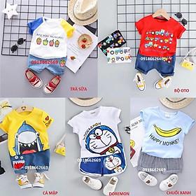 Quần áo bé trai bộ hè ( sét cá mập) cotton 4c size 5-20kg