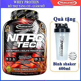 Combo Sữa tăng cơ cao cấp Whey Protein Nitro Tech của MuscleTech hương Chocolate hộp 40 lần dùng 4 LBS hỗ trợ tăng cơ, giảm cân, đốt mỡ cho người tập GYM & Bình lắc 600 ml (Màu Ngẫu Nhiên)