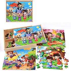 Tranh ghép hình cho bé 4 trong 1 gồm 40 mảnh, 60 mảnh, 80 mảnh, 100 mảnh bằng gỗ