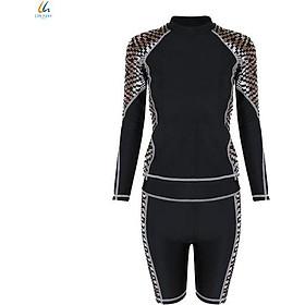 Đồ bơi liền mảnh Lan Hạnh nữ áo tay dài quần shorts Đen họa tiết 21087-DE104