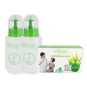 Combo Bình rửa mũi Dr.Green (2 bình kèm 30 gói muối nha đam), Đầu rửa silicone mềm mại, công nghệ van kép 1 chiều chống sặc, hỗ trợ điều trị viêm mũi, sổ mũi, viêm mũi dị ứng, viêm xoang