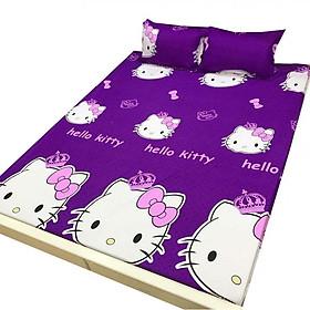 Bộ ga gối Cotton Poly kitty tím