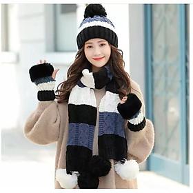 Sét mũ nón len nữ cao cấp kèm khăn và găng tay thời trang