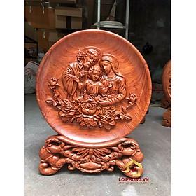Đĩa gỗ trang trí gia đình chúa jesus bằng gỗ hương đường kính đĩa 30 - 35 - 40 cm dày 4 cm