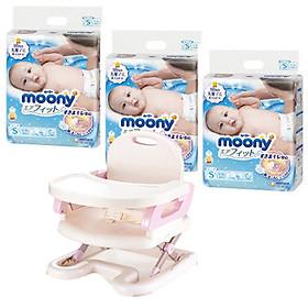 Combo 3 gói tã dán Moony cao cấp size NB90/S84/M64/XL44 tặng ghế ăn dặm Mastela và đồ chơi Toys House