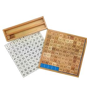 Bảng học đếm số 1 đến 100 kèm khay gỗ giáo cụ Montessori