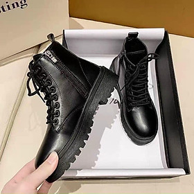 Boot Nữ cao cổ khóa ngang chất da màu đen cực đẹp