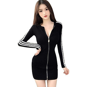 Women Sexy Zipper Slim Dress Women Fashion  Striped Stitching Long-sleeved Dress Autumn Sexy Dresses