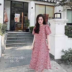 Váy Hoa Nhí Dáng Xuông Tay Phồng, Đầm Hoa Đỏ Dáng Dài Siêu Xinh Có Ảnh Thật Kèm Video