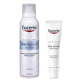 Bộ chăm sóc da Kem Làm Giảm và Ngăn Ngừa Mụn Eucerin ProAcne Clearing Treatment Eucerin (40ml) + Xịt Khoáng Chống Lão Hóa Eucerin Aquaporin Active (150ml)