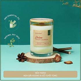 Nến thơm hương oải hương và gỗ tuyết tùng tinh dầu thiên nhiên cao cấp - Relax Scented Candle -  Bấc gỗ, không khói - Sáp nành