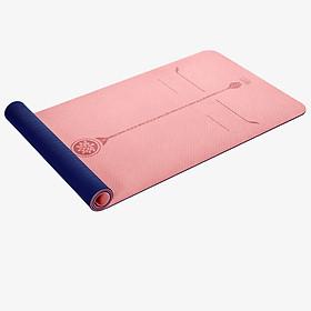 Austrian Yoga mat body line double-sided two-color TPE6mm long non-slip fitness mat environmentally friendly tasteless men and women sports mat gift storage straps network bag smile powder