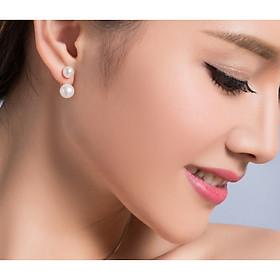 Bông tai ngọc trai nước ngọc hai đầu bà bạc BT226