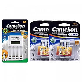 Bộ sạc pin Camelion BC1012 + 4 pin sạc AA 2700mAh - Hàng nhập khẩu