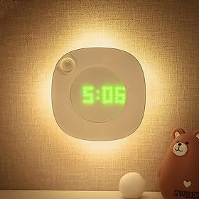 Đèn Led cảm ứng kiêm Đồng hồ mini (dán tủ, tường, phòng ngủ, nhà tắm, nhà vệ sinh...)