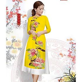 áo dài cách tân nữ thời trang họa tiết động vật cao cấp